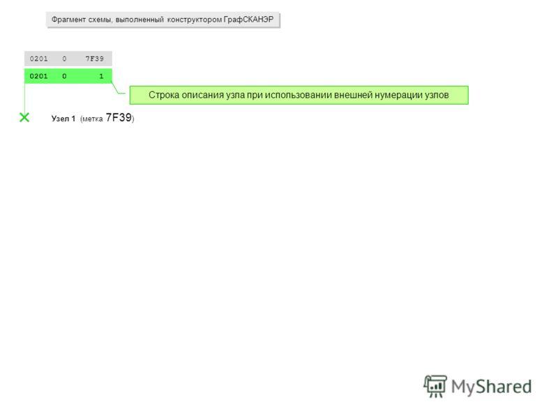 0201 0 7F39 0201 0 1 Узел 1 (метка 7F39 ) Фрагмент схемы, выполненный конструктором ГрафСКАНЭР Строка описания узла при использовании внешней нумерации узлов