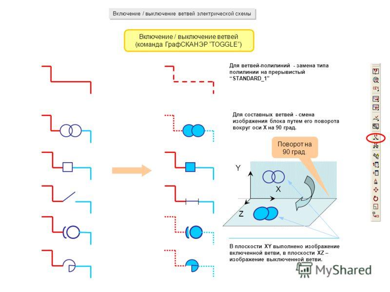 Включение / выключение ветвей электрической схемы Включение / выключение ветвей (команда ГрафСКАНЭР TOGGLE) Для ветвей-полилиний - замена типа полилинии на прерывистый STANDARD_1 Для составных ветвей - смена изображения блока путем его поворота вокру