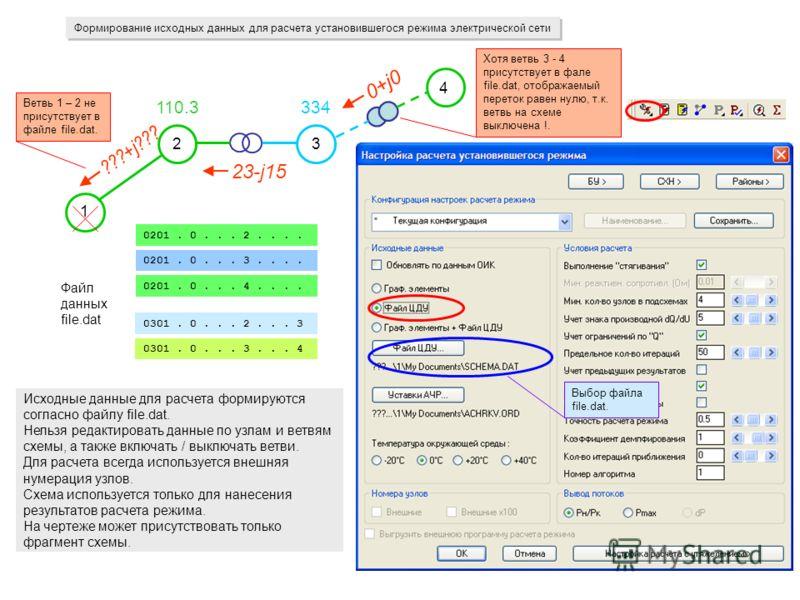 Формирование исходных данных для расчета установившегося режима электрической сети 1 23 4 23-j15 Исходные данные для расчета формируются согласно файлу file.dat. Нельзя редактировать данные по узлам и ветвям схемы, а также включать / выключать ветви.