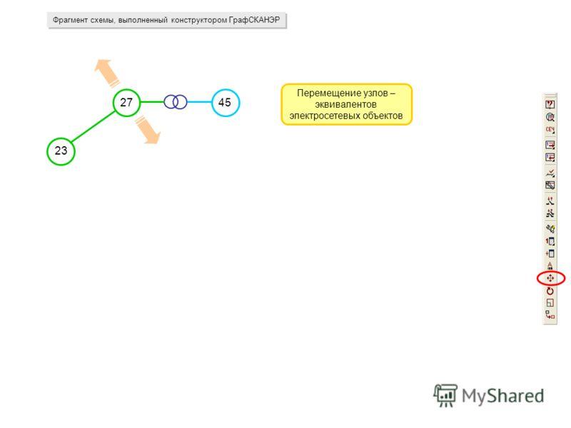 Фрагмент схемы, выполненный конструктором ГрафСКАНЭР Перемещение узлов – эквивалентов электросетевых объектов 23 2745