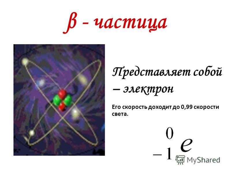 β - частица Представляет собой – электрон Его скорость доходит до 0,99 скорости света.