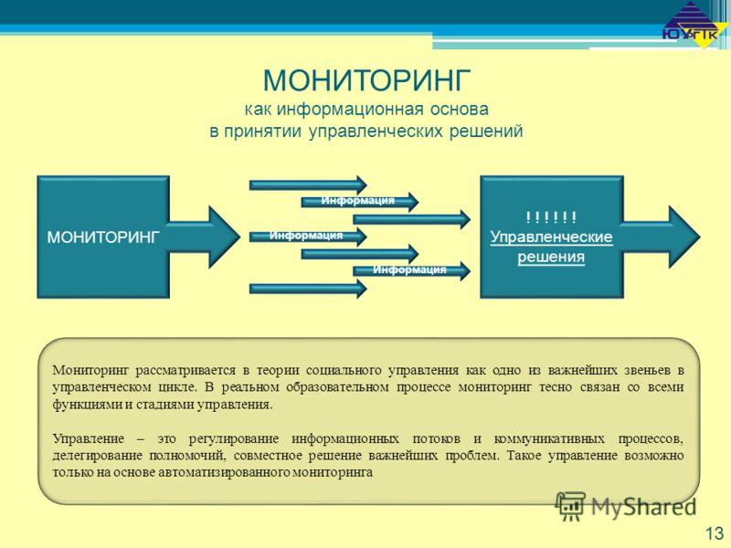 МОНИТОРИНГ как информационная основа в принятии управленческих решений Мониторинг рассматривается в теории социального управления как одно из важнейших звеньев в управленческом цикле. В реальном образовательном процессе мониторинг тесно связан со все