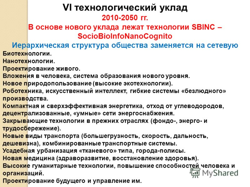 VI технологический уклад 2010-2050 гг. В основе нового уклада лежат технологии SBINC – SocioBioInfoNanoCognito Иерархическая структура общества заменяется на сетевую Биотехнологии. Нанотехнологии. Проектирование живого. Вложения в человека, система о