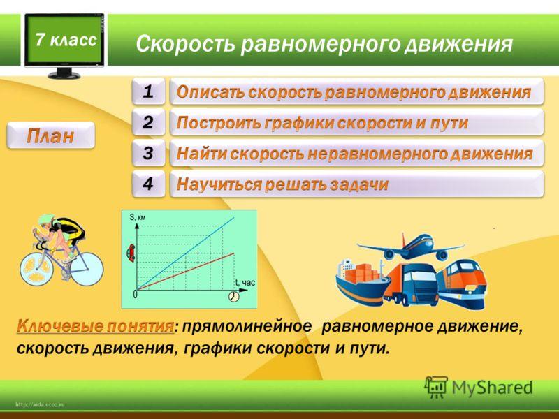 Скорость равномерного движения 1 1 2 2 3 3 7 класс 4 4