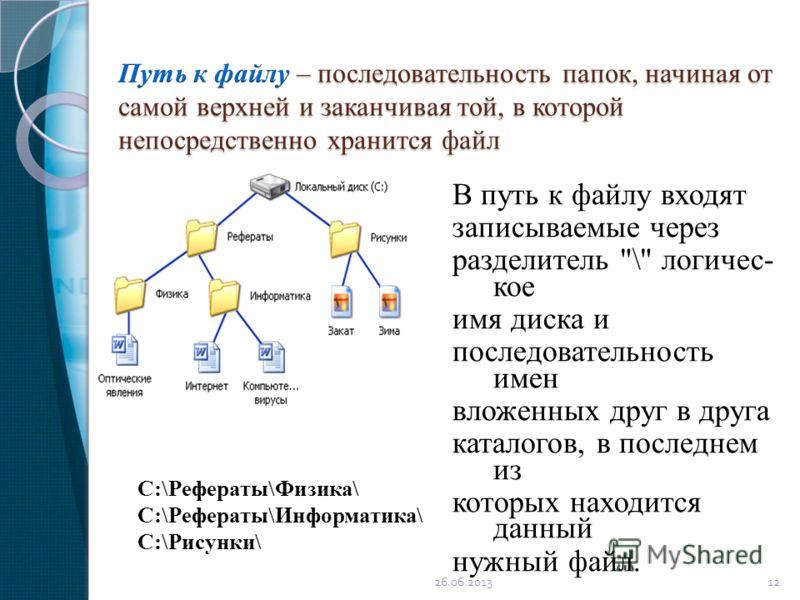 В путь к файлу входят записываемые через разделитель