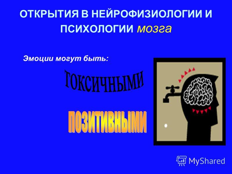 ОТКРЫТИЯ В НЕЙРОФИЗИОЛОГИИ И ПСИХОЛОГИИ мозга Эмоции могут быть:
