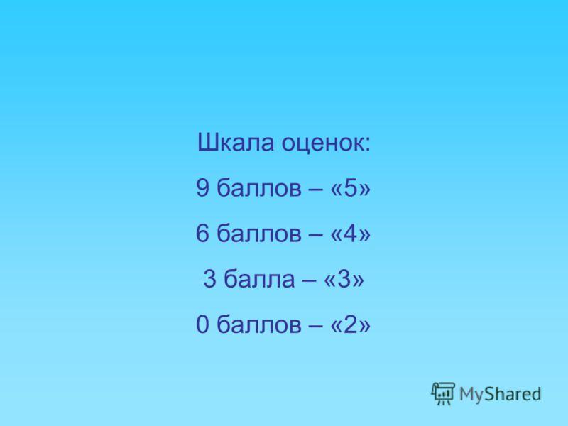 Шкала оценок: 9 баллов – «5» 6 баллов – «4» 3 балла – «3» 0 баллов – «2»