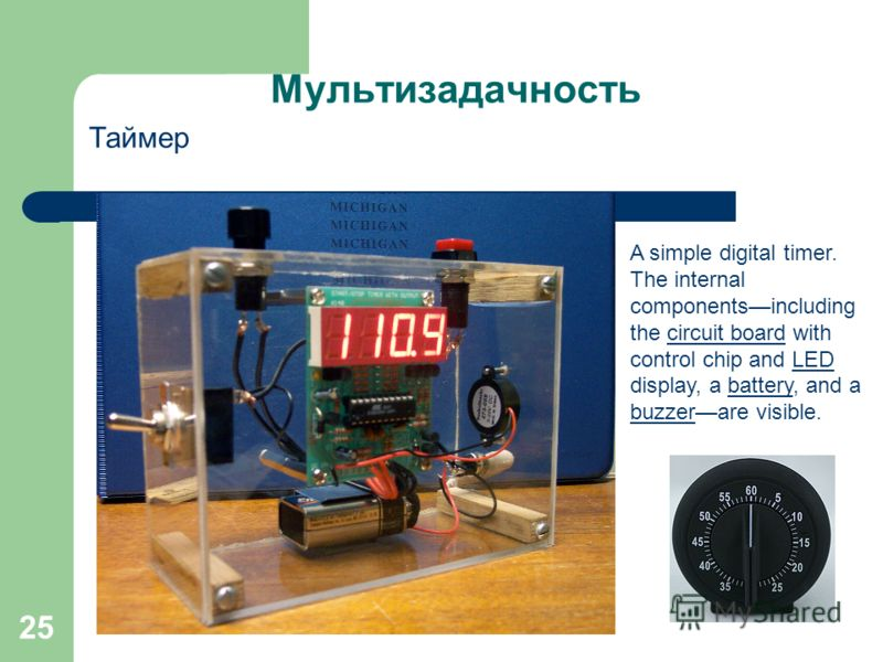 25 Мультизадачность Таймер A simple digital timer. The internal componentsincluding the circuit board with control chip and LED display, a battery, and a buzzerare visible.circuit boardLEDbattery buzzer