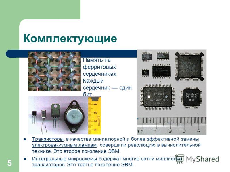 Комплектующие Транзисторы, в качестве миниатюрной и более эффективной замены электровакуумным лампам, совершили революцию в вычислительной технике. Это второе поколение ЭВМ. Транзисторы электровакуумным лампам Интегральные микросхемы содержат многие