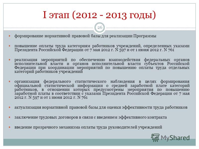 I этап (2012 - 2013 годы) 26 формирование нормативной правовой базы для реализации Программы повышение оплаты труда категориям работников учреждений, определенных указами Президента Российской Федерации от 7 мая 2012 г. N 597 и от 1 июня 2012 г. N 76