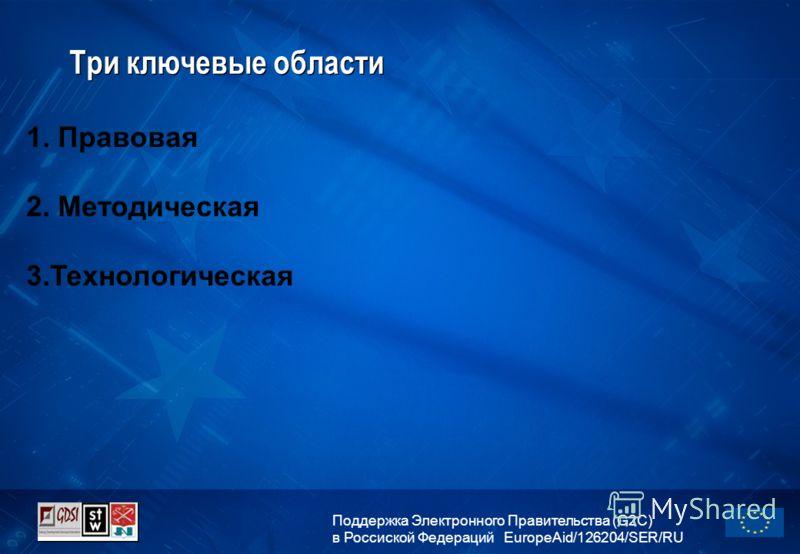 Поддержка Электронного Правительства (G2C) в Россиской Федераций EuropeAid/126204/SER/RU Три ключевые области 1. Правовая 2. Методическая 3.Технологическая
