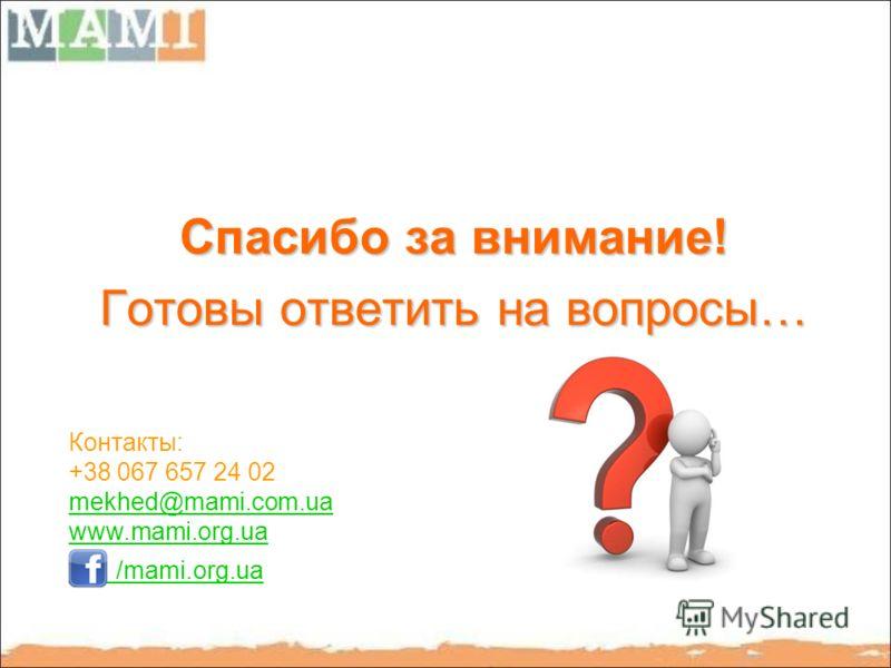 Спасибо за внимание! Готовы ответить на вопросы… Контакты: +38 067 657 24 02 mekhed@mami.com.ua www.mami.org.ua /mami.org.ua