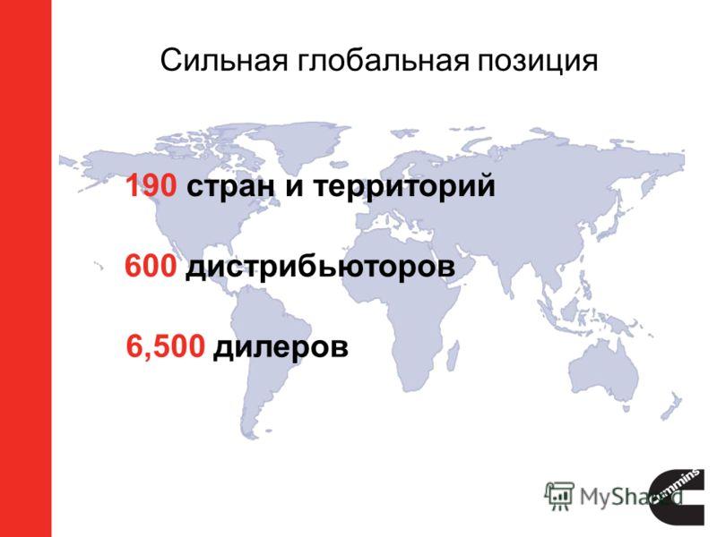 Сильная глобальная позиция 190 стран и территорий 600 дистрибьюторов 6,500 дилеров