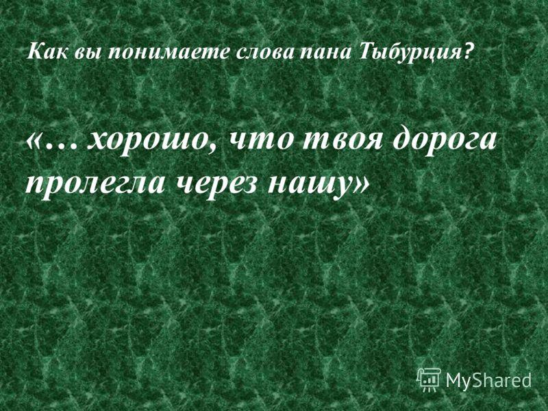 «… хорошо, что твоя дорога пролегла через нашу» Как вы понимаете слова пана Тыбурция ?
