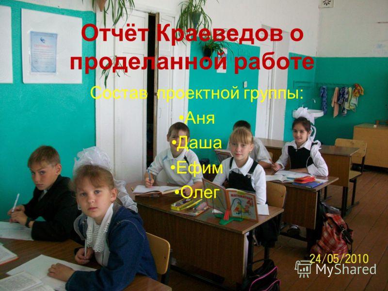 Состав проектной группы: Аня Даша Ефим Олег Отчёт Краеведов о проделанной работе