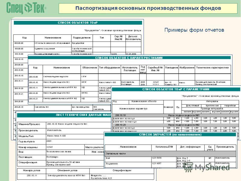 Примеры форм отчетов