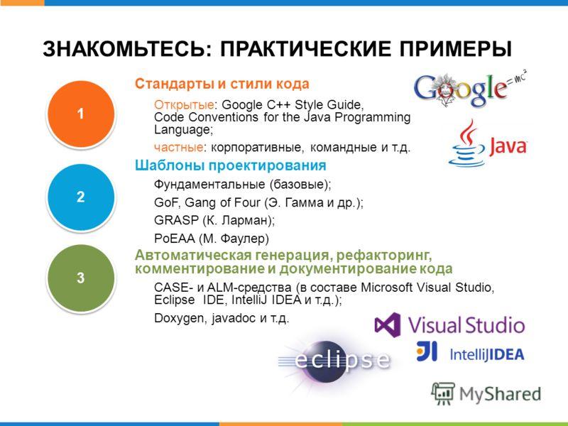 ЗНАКОМЬТЕСЬ: ПРАКТИЧЕСКИЕ ПРИМЕРЫ 1 1 2 2 3 3 Стандарты и стили кода Открытые: Google C++ Style Guide, Code Conventions for the Java Programming Language; частные: корпоративные, командные и т.д. Шаблоны проектирования Фундаментальные (базовые); GoF,