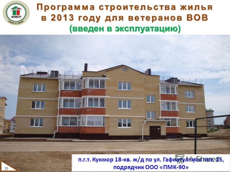 15 Программа строительства жилья в 2013 году для ветеранов ВОВ (введен в эксплуатацию) п.г.т. Кукмор 18-кв. ж/д по ул. Гафиатуллина поз. 15, подрядчик ООО «ПМК-90»