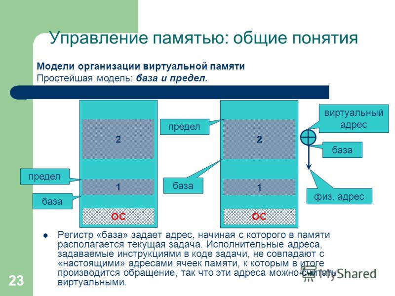 23 Управление памятью: общие понятия Модели организации виртуальной памяти Простейшая модель: база и предел. Регистр «база» задает адрес, начиная с которого в памяти располагается текущая задача. Исполнительные адреса, задаваемые инструкциями в коде