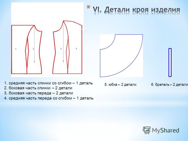 1. средняя часть спинки со сгибом – 1 деталь 2. боковая часть спинки – 2 детали 3. боковая часть переда – 2 детали 4. средняя часть переда со сгибом – 1 деталь 5. юбка – 2 детали 6. бретель – 2 детали