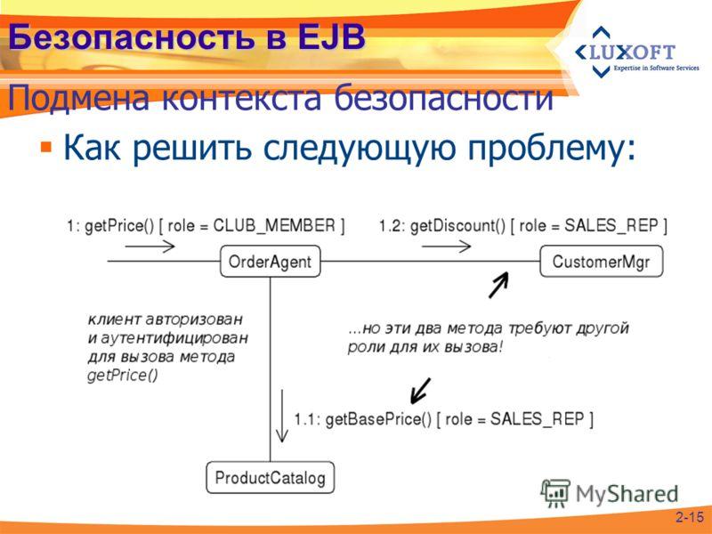 Безопасность в EJB Как решить следующую проблему: Подмена контекста безопасности 2-15