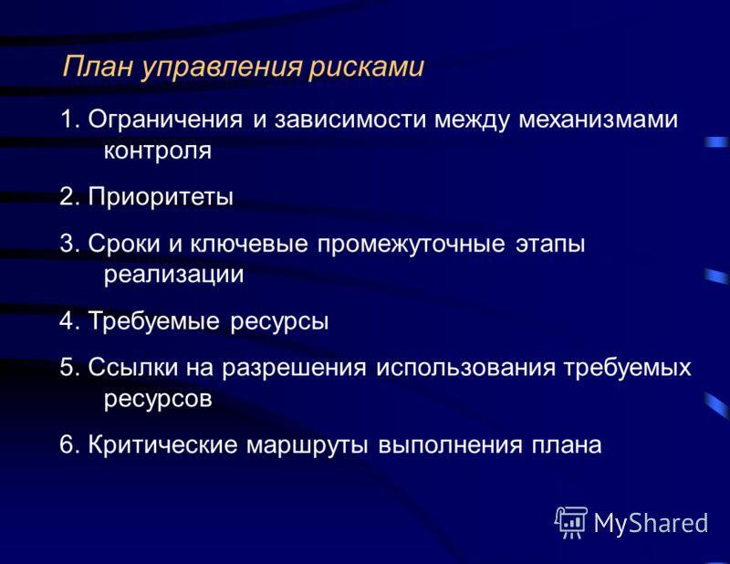 План управления рисками 1. Ограничения и зависимости между механизмами контроля 2. Приоритеты 3. Сроки и ключевые промежуточные этапы реализации 4. Требуемые ресурсы 5. Ссылки на разрешения использования требуемых ресурсов 6. Критические маршруты вып