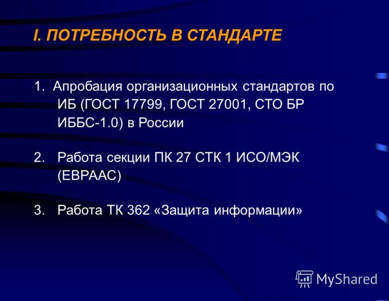 I. ПОТРЕБНОСТЬ В СТАНДАРТЕ 1. Апробация организационных стандартов по ИБ (ГОСТ 17799, ГОСТ 27001, СТО БР ИББС-1.0) в России 2.Работа секции ПК 27 СТК 1 ИСО/МЭК (ЕВРААС) 3.Работа ТК 362 «Защита информации»