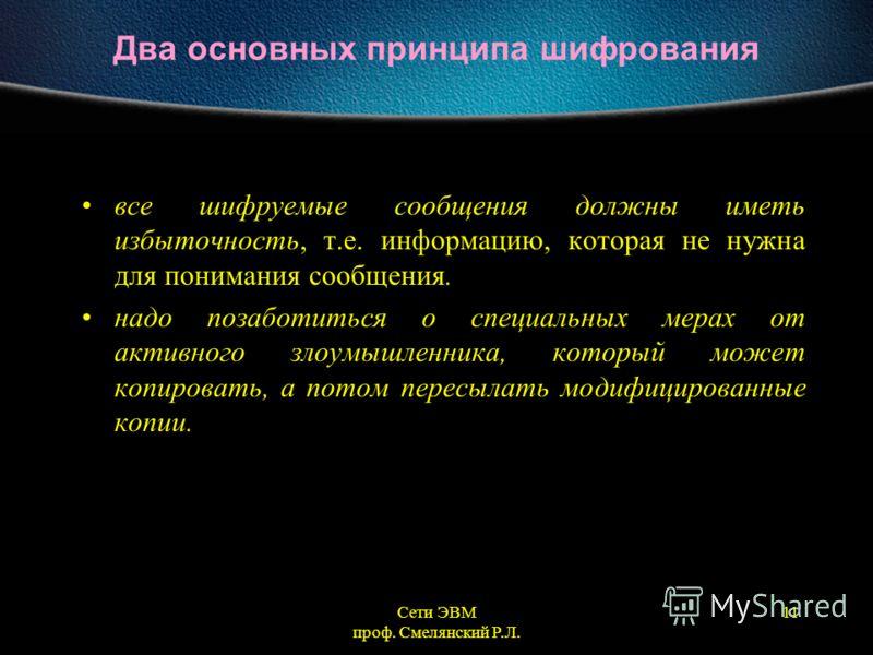 Сети ЭВМ проф. Смелянский Р.Л. 11 Два основных принципа шифрования все шифруемые сообщения должны иметь избыточность, т.е. информацию, которая не нужна для понимания сообщения. надо позаботиться о специальных мерах от активного злоумышленника, которы
