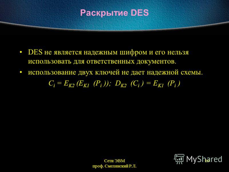 Сети ЭВМ проф. Смелянский Р.Л. 19 Раскрытие DES DES не является надежным шифром и его нельзя использовать для ответственных документов. использование двух ключей не дает надежной схемы. C i = E K2 (E K1 (P i )); D K2 (C i ) = E K1 (P i )