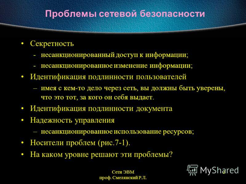 Сети ЭВМ проф. Смелянский Р.Л. 2 Проблемы сетевой безопасности Секретность -несанкционированный доступ к информации; -несанкционированное изменение информации; Идентификация подлинности пользователей –имея с кем-то дело через сеть, вы должны быть уве
