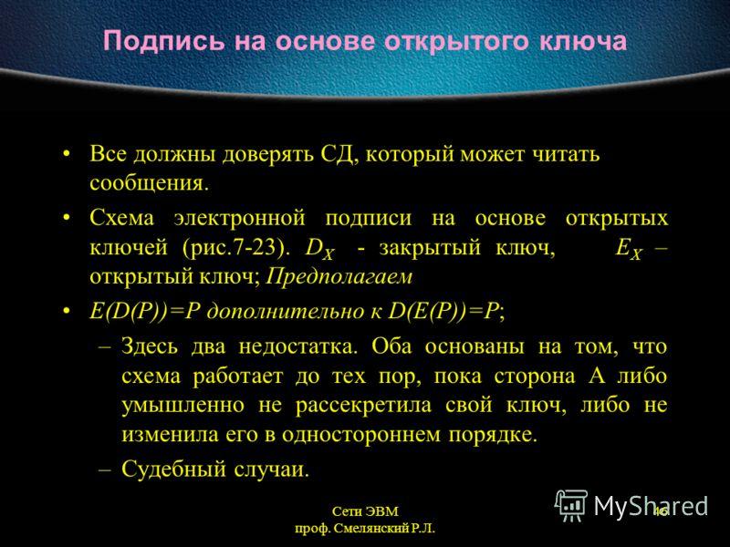 Сети ЭВМ проф. Смелянский Р.Л. 46 Подпись на основе открытого ключа Все должны доверять СД, который может читать сообщения. Схема электронной подписи на основе открытых ключей (рис.7-23). D X - закрытый ключ, E X – открытый ключ; Предполагаем E(D(P))