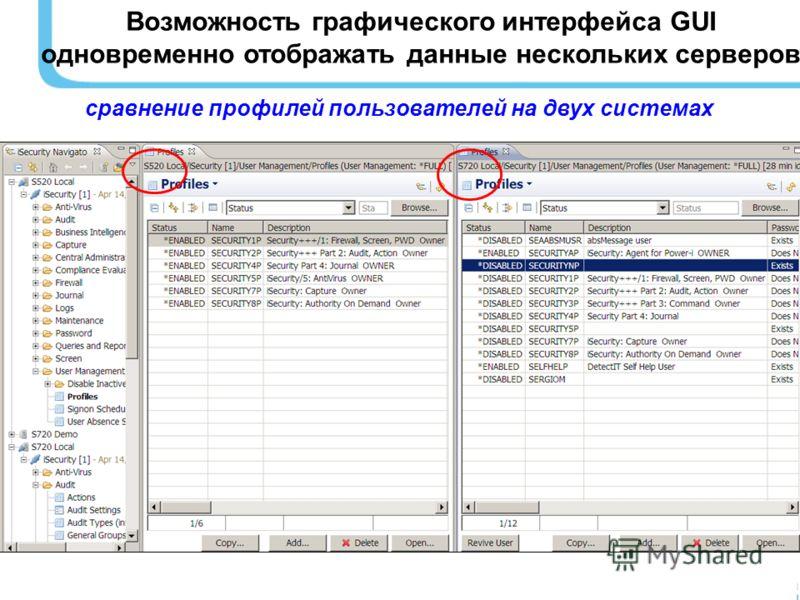 Возможность графического интерфейса GUI одновременно отображать данные нескольких серверов сравнение профилей пользователей на двух системах