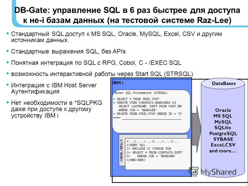 Стандартный SQL доступ к MS SQL, Oracle, MySQL, Excel, CSV и другим источникам данных. Стандартные выражения SQL, без APIs Понятная интеграция по SQL с RPG, Cobol, C - /EXEC SQL возможность интерактивной работы через Start SQL (STRSQL) Интеграция с I
