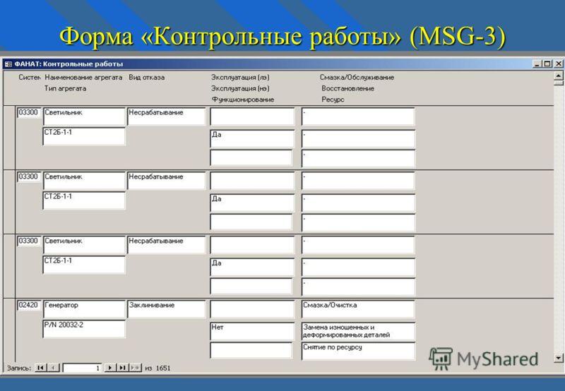 Форма «Контрольные работы» (MSG-3)