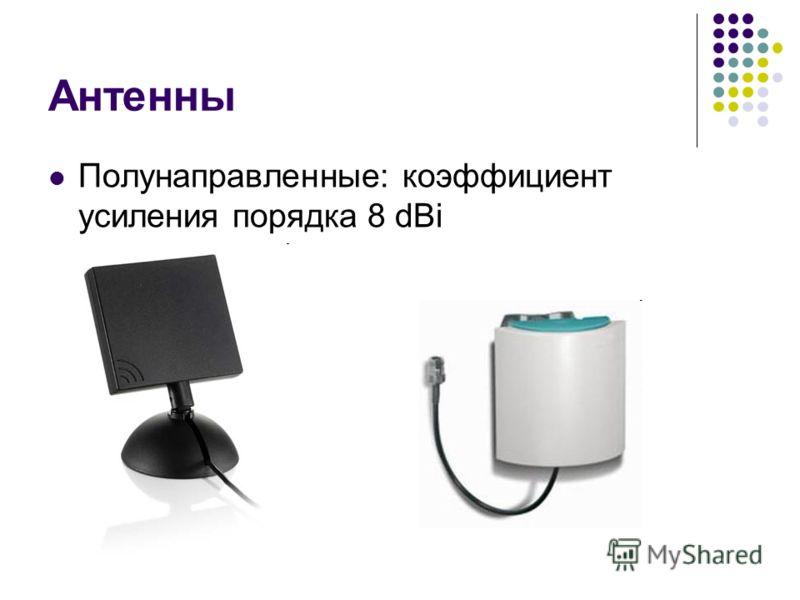 Антенны Полунаправленные: коэффициент усиления порядка 8 dBi