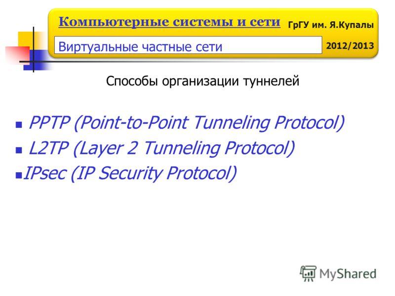 ГрГУ им. Я.Купалы 2012/2013 Компьютерные системы и сети Способы организации туннелей PPTP (Point-to-Point Tunneling Protocol) L2TP (Layer 2 Tunneling Protocol) IPsec (IP Security Protocol) Виртуальные частные сети
