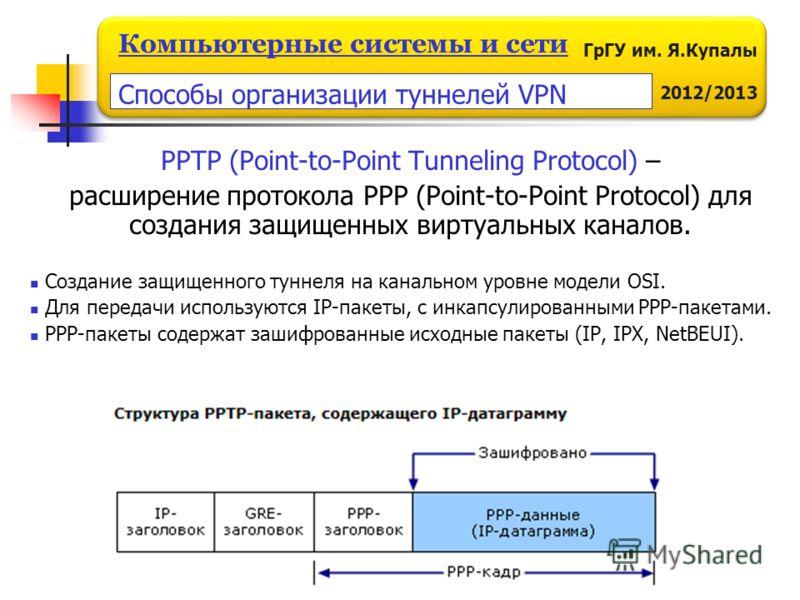 ГрГУ им. Я.Купалы 2012/2013 Компьютерные системы и сети PPTP (Point-to-Point Tunneling Protocol) – расширение протокола PPP (Point-to-Point Protocol) для создания защищенных виртуальных каналов. Создание защищенного туннеля на канальном уровне модели