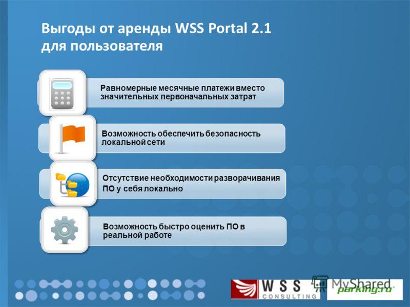 Выгоды от аренды WSS Portal 2.1 для пользователя Равномерные месячные платежи вместо значительных первоначальных затрат Возможность обеспечить безопасность локальной сети Отсутствие необходимости разворачивания ПО у себя локально Возможность быстро о