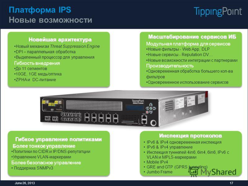 Платформа IPS Новые возможности 17June 26, 2013 Новейшая архитектура Новый механизм Threat Suppression Engine DPI – параллельная обработка Выделенный процессор для управления Гибкость внедрения До 11 сегментов 10GE, 1GE медь/оптика ZPHA и DC-питание