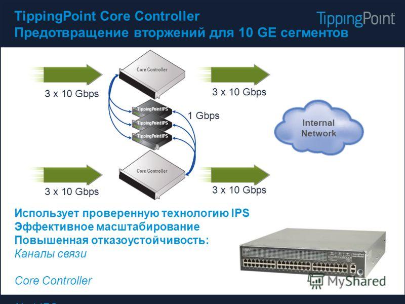 TippingPoint Core Controller Предотвращение вторжений для 10 GЕ сегментов Использует проверенную технологию IPS Эффективное масштабирование Повышенная отказоустойчивость: Каналы связи Core Controller N+1 IPS Internal Network Core Controller TippingPo