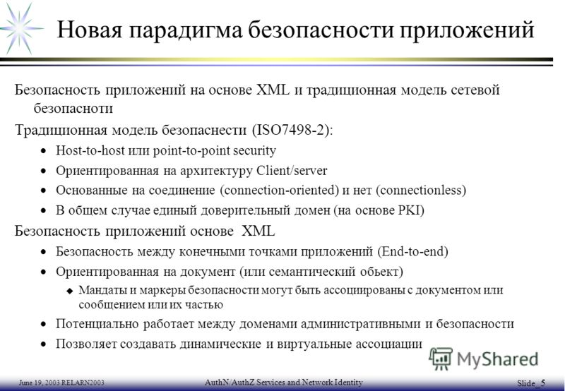June 19, 2003 RELARN2003 AuthN/AuthZ Services and Network Identity Slide _5 Новая парадигма безопасности приложений Безопасность приложений на основе XML и традиционная модель сетевой безопасноти Традиционная модель безопаснести (ISO7498-2): Host-to-