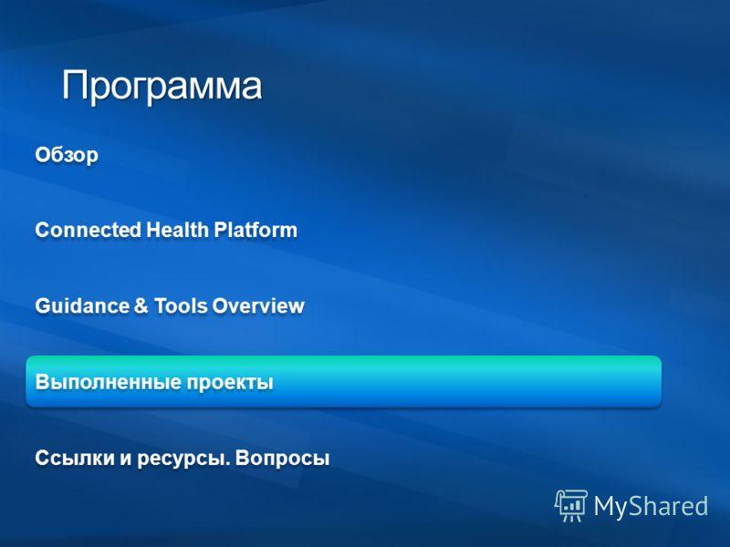 ОбзорConnected Health PlatformGuidance & Tools OverviewВыполненные проектыСсылки и ресурсы. Вопросы Программа