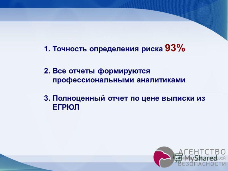 1.Точность определения риска 93% 2.Все отчеты формируются профессиональными аналитиками 3.Полноценный отчет по цене выписки из ЕГРЮЛ