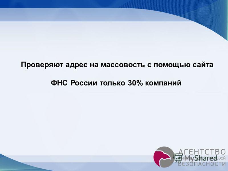 Проверяют адрес на массовость с помощью сайта ФНС России только 30% компаний