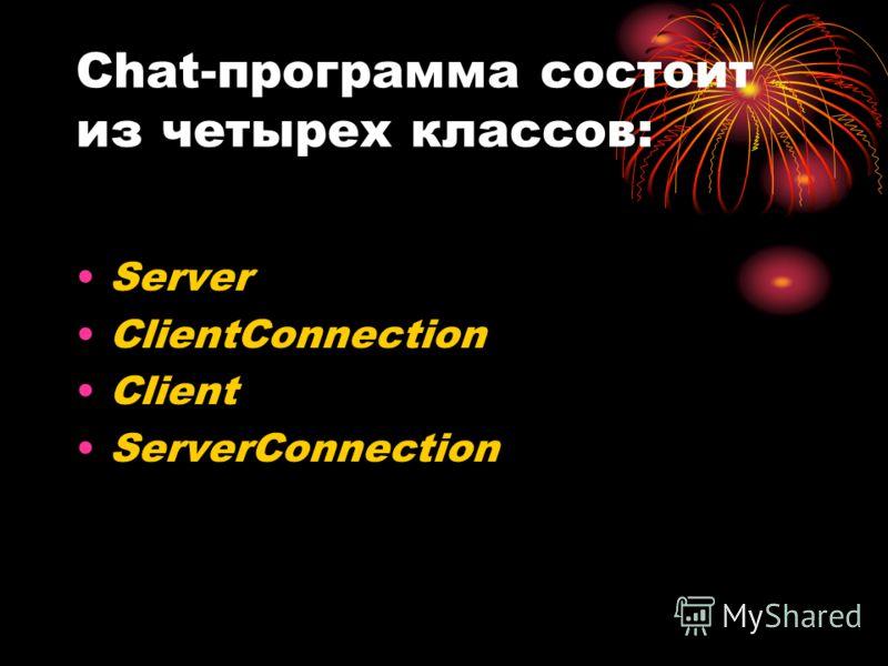 Сhat-программа состоит из четырех классов: Server ClientConnection Client ServerConnection