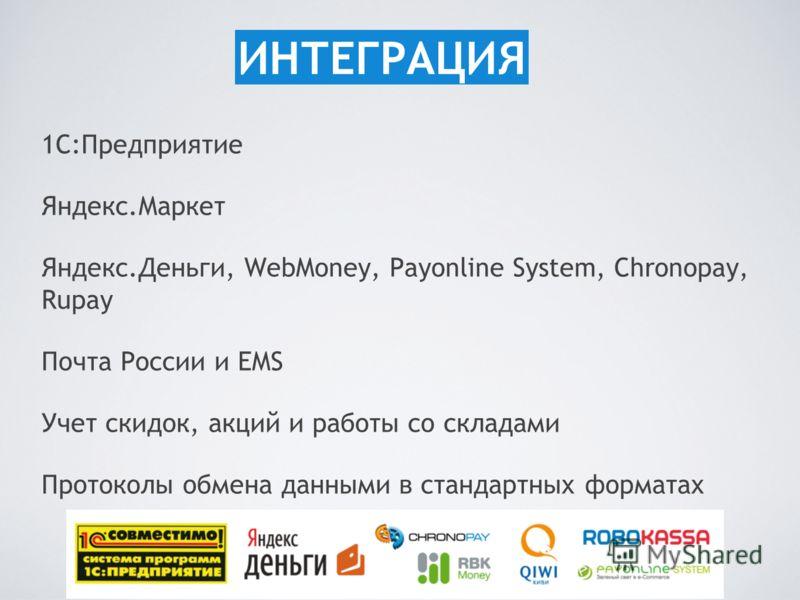 1С:Предприятие Яндекс.Маркет Яндекс.Деньги, WebMoney, Payonline System, Chronopay, Rupay Почта России и EMS Учет скидок, акций и работы со складами Протоколы обмена данными в стандартных форматах ИНТЕГРАЦИЯ