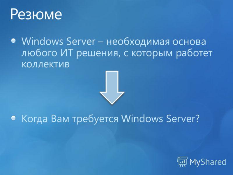 Windows Server – необходимая основа любого ИТ решения, с которым работет коллектив Когда Вам требуется Windows Server?