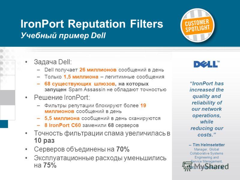 IronPort Reputation Filters Учебный пример Dell Задача Dell: –Dell получает 26 миллионов сообщений в день –Только 1,5 миллиона – легитимные сообщения –68 существующих шлюзов, на которых запущен Spam Assassin не обладают точностью Решение IronPort: –Ф