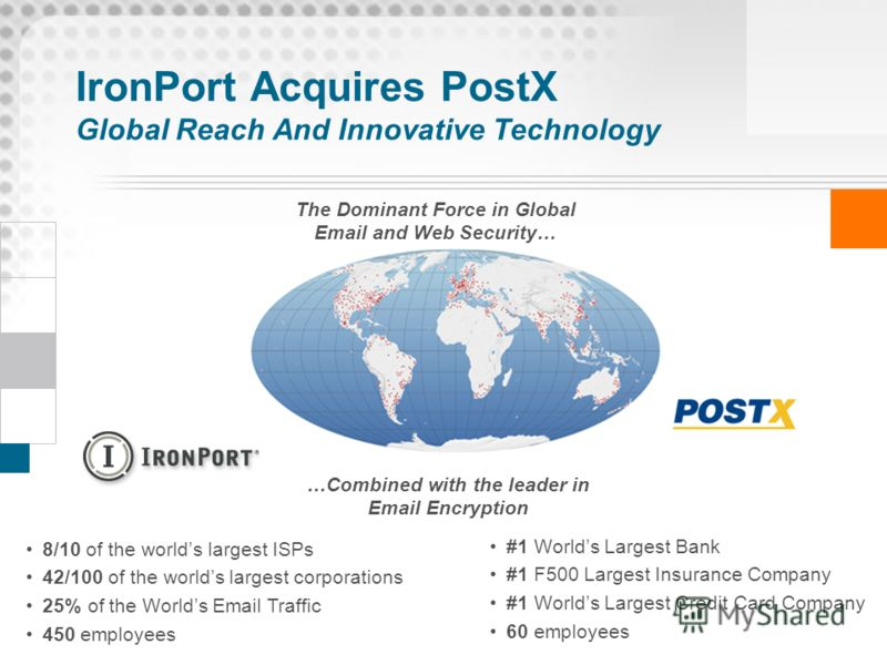 IronPort Acquires PostX Global Reach And Innovative Technology 8/10 of the worlds largest ISPs 42/100 of the worlds largest corporations 25% of the Worlds Email Traffic 450 employees The Dominant Force in Global Email and Web Security… …Combined with
