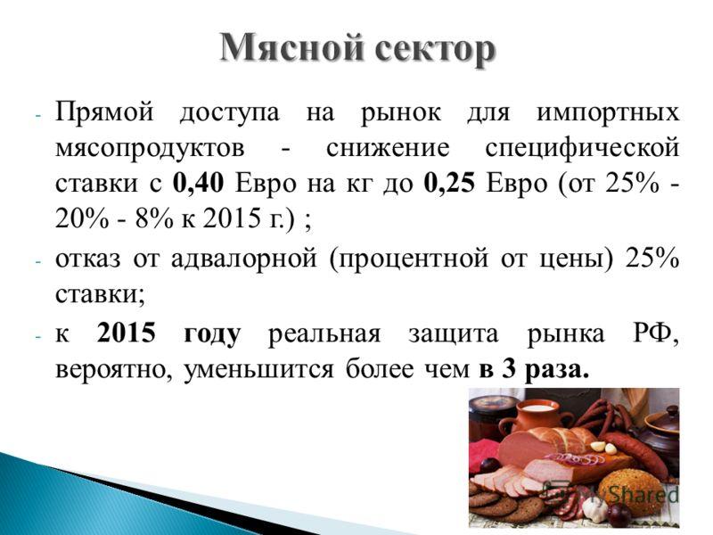- Прямой доступа на рынок для импортных мясопродуктов - снижение специфической ставки с 0,40 Евро на кг до 0,25 Евро (от 25% - 20% - 8% к 2015 г.) ; - отказ от адвалорной (процентной от цены) 25% ставки; - к 2015 году реальная защита рынка РФ, вероят